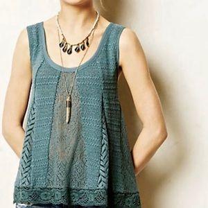 Anthropologie Meadow Rue Sea Green Crochet Tank